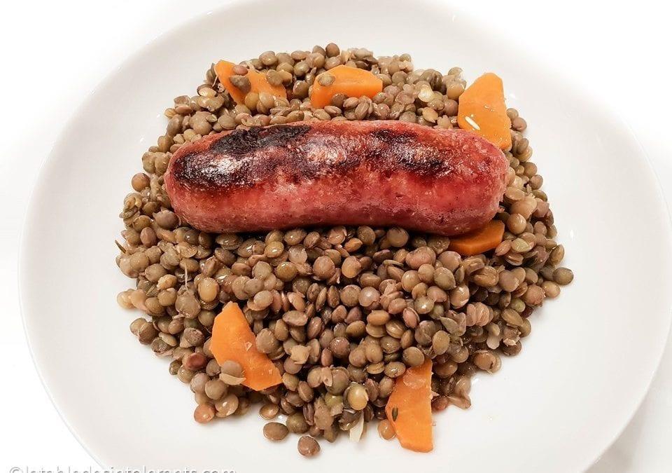 SAUCISSES DE TOULOUSE AUX LENTILLES VERTES DU PUY naturellement sans gluten, cuisson à la vapeur douce
