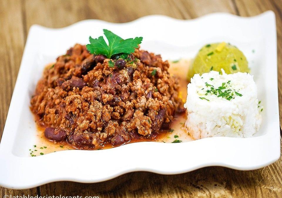 CHILI CON CARNE MAISON ET GUACAMOLE sans gluten, faible ou sans lactose